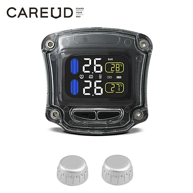 Motorcycle TPMS Tire Pressure Monitoring System 2 External Sensor Wireless LCD Display Moto Auto Tyre Alarm Systems Black