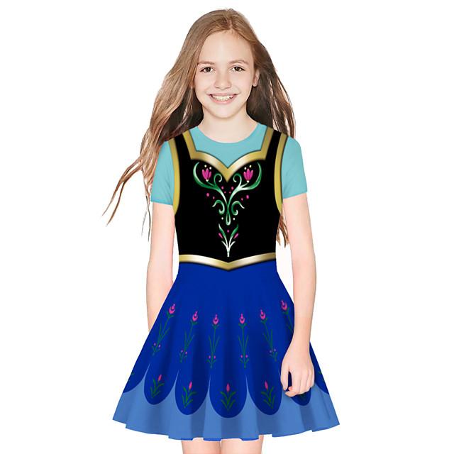 Princess Elsa Dress Girls' Movie Cosplay Cosplay Blue / Black Dress Halloween Carnival Masquerade Polyester