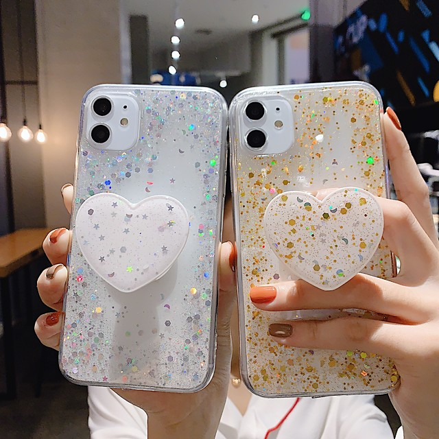 Case For Apple iPhone 11 / iPhone 11 Pro / iPhone 11 Pro Max Ring Holder / Glitter Shine Back Cover Glitter Shine TPU