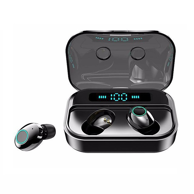 LITBest M7 TWS True Wireless Earbuds IPX7 Waterproof Sports Fitness Headphone Bluetooth 5.0 Stereo Dual Drivers Touch Control Real 2200mAh Mobile Power LED Battery Display for Smartphones
