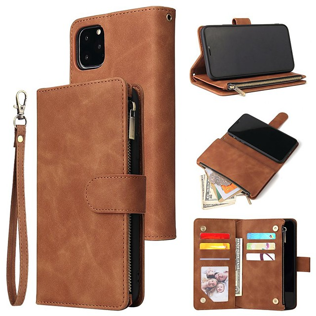 Phone Case For Apple Full Body Case Leather Wallet Card iPhone 12 Pro Max 11 SE 2020 X XR XS Max 8 7 6 Wallet Card Holder Shockproof Solid Color PU Leather TPU
