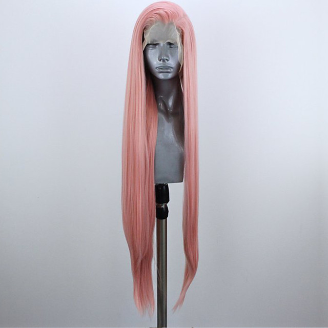 Synthetic Lace Front Wig Straight Side Part Lace Front Wig Pink Long Pink Synthetic Hair 18-26 inch Women's Adjustable Heat Resistant Party Pink
