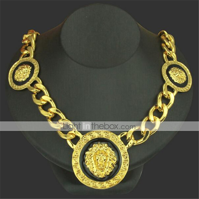 Men's Pendant Necklace Chain Necklace Classic Lion Precious Unique Design Fashion Gold Plated Chrome Gold Silver 50 cm Necklace Jewelry 1pc For Daily Street