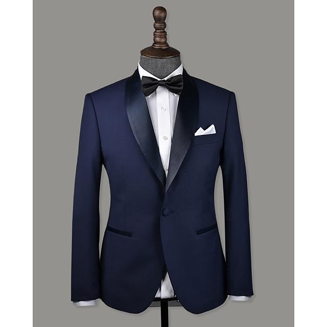 Navy blue wool custom tuxedo