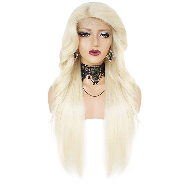 Synthetic Wig Synthetic Lace Front Wig Ombre Wavy Natural Straight with Baby Hair Lace Front Wig Long Black / Gold Light Blonde Jet Black Black / Brown Synthetic Hair Kanekalon 28inch Women's Gift