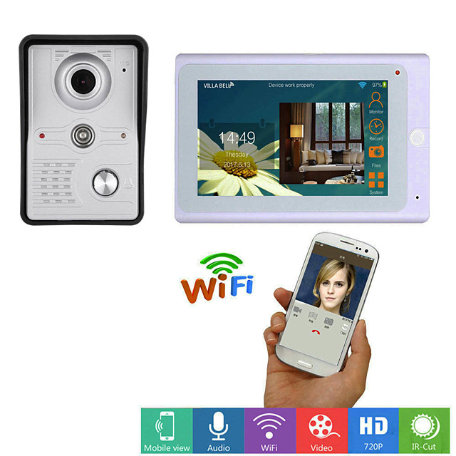 MOUNTAINONE SY705WMKW11 Wired & Wireless Built in out Speaker 7 inch Hands-free One to One video doorphone