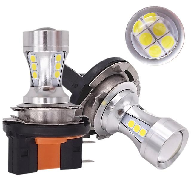 2pcs car H15 LED Bulb High Power 6000K White 18SMD 3030 For Daytime Running Lights Fog Lamp Replacement Bulb 6000-6500K White 12v