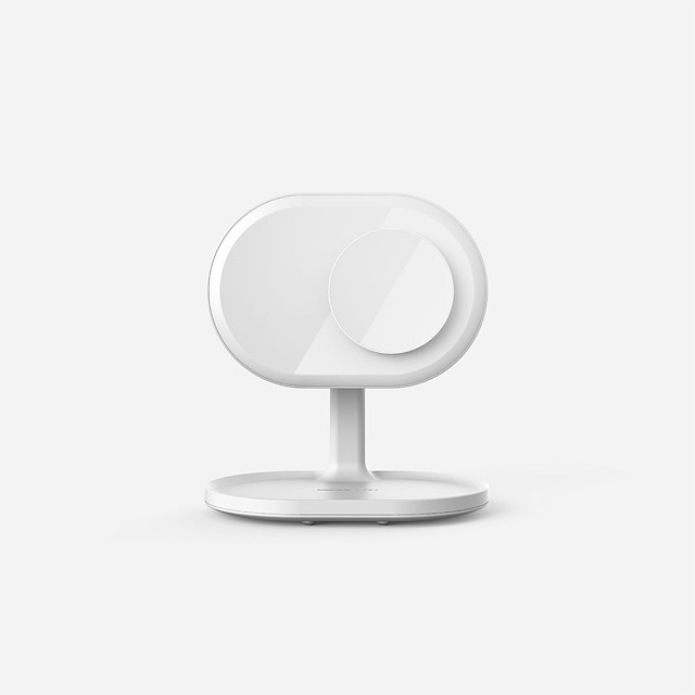 MOMAX LED MIRROR wireless rechargeable beauty mirror lamp 10 W Wireless Charger USB Charger EU Plug Wireless Charger for Huawei / Apple