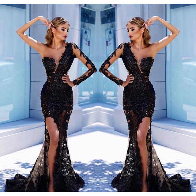 Mermaid / Trumpet Elegant Formal Evening Dress One Shoulder Long Sleeve Court Train Tulle with Appliques Split Front 2020