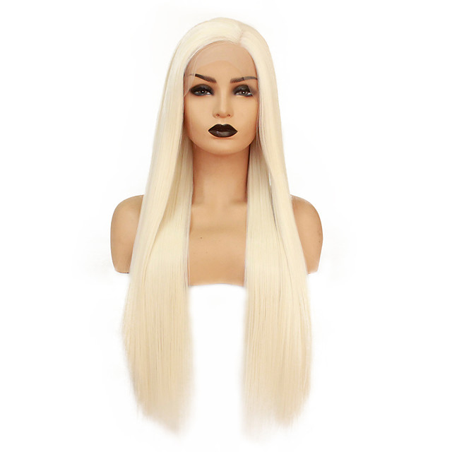 Synthetic Lace Front Wig Straight Minaj Middle Part Lace Front Wig Blonde Long Platinum Blonde Synthetic Hair 22-26 inch Women's Heat Resistant Women Hot Sale Blonde / Glueless
