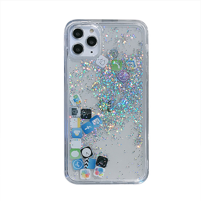 Case for iPhone 11Pro Max Transparent Quicksand Mobile Shell XS Max Mobile APP Application 6/7 / 8Plus Silicone Protective Shell