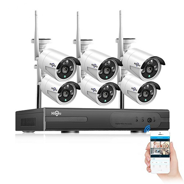 Hiseeu 8CH Wireless CCTV Camera System 6pcs 3mp WiFi IP Camera Outdoor Waterproof Home Security Video Surveillance System NVR kit APP Remote Viewing Day Night Smart IR-Cut