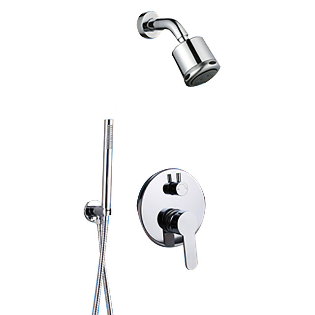 Shower Faucet Set - Rainfall Contemporary Chrome Wall Mounted Ceramic Valve Bath Shower Mixer Taps / Brass