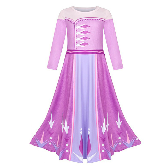 Elsa Dress Masquerade Flower Girl Dress Girls' Movie Cosplay A-Line Slip Cosplay Halloween Purple Dress Halloween Carnival Masquerade Polyester