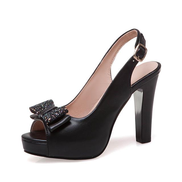 Women's Heels Chunky Heel Peep Toe Bowknot PU British / Minimalism Spring & Summer Black / White / Pink / Wedding / Party & Evening