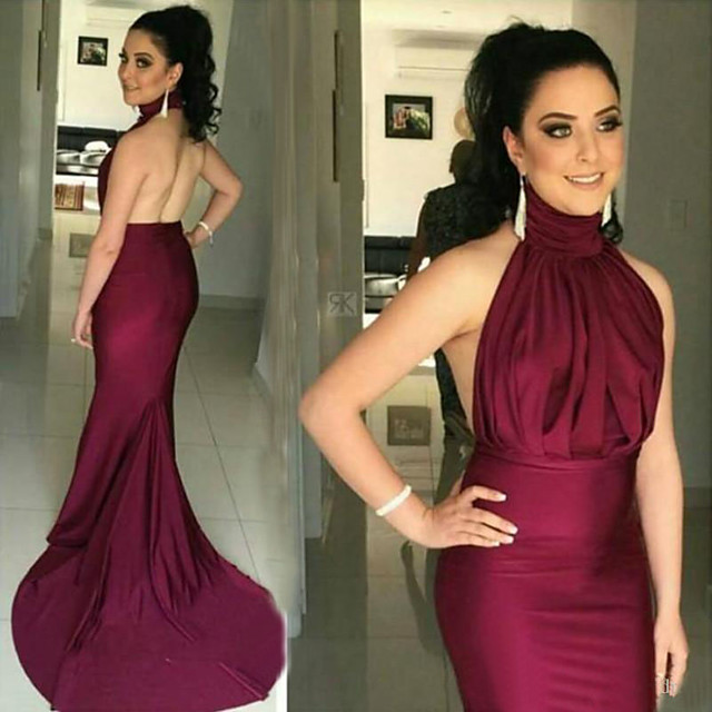 Mermaid / Trumpet Sexy Formal Evening Dress Halter Neck Sleeveless Court Train Stretch Satin with Ruched Draping 2020