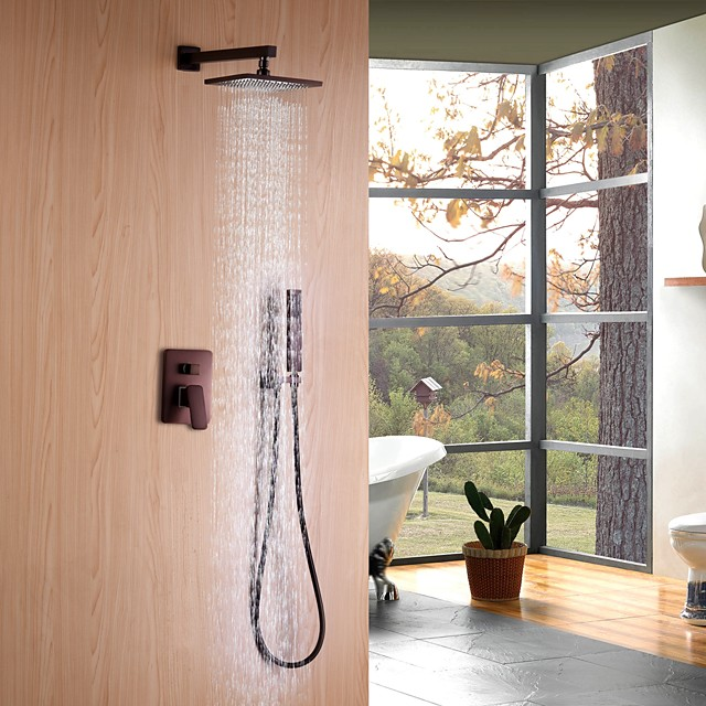 Shower Faucet - Contemporary Oil-rubbed Bronze Wall Mounted Ceramic Valve Bath Shower Mixer Taps