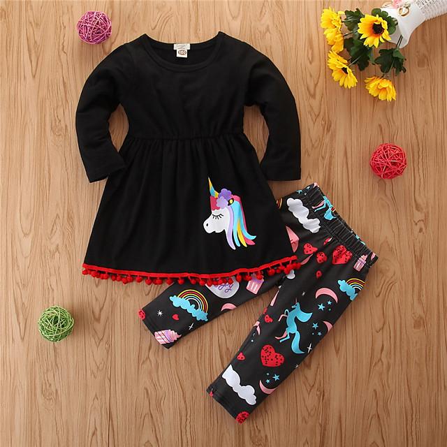 Toddler Girls' Casual Basic Sports Going out Unicorn Animal Animal Pattern Printing Long Sleeve Regular Regular Clothing Set Black / Cute