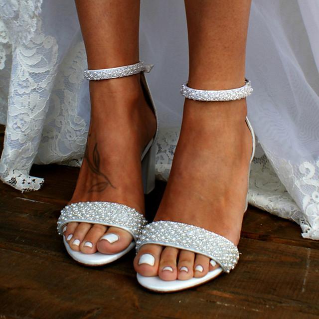Women's Wedding Shoes Sandals Boho / Beach Block Heel Chunky Heel Open Toe Basic Sweet Wedding Daily Beach Pearl Solid Colored Satin Summer White / Ivory
