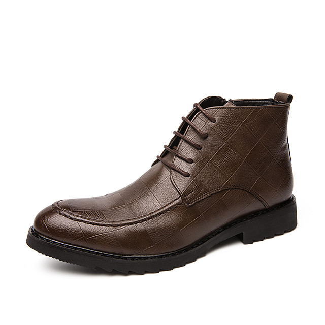 Men's Fashion Boots PU Spring / Fall & Winter Casual / British Boots Booties / Ankle Boots Brown / Black / Office & Career / Combat Boots