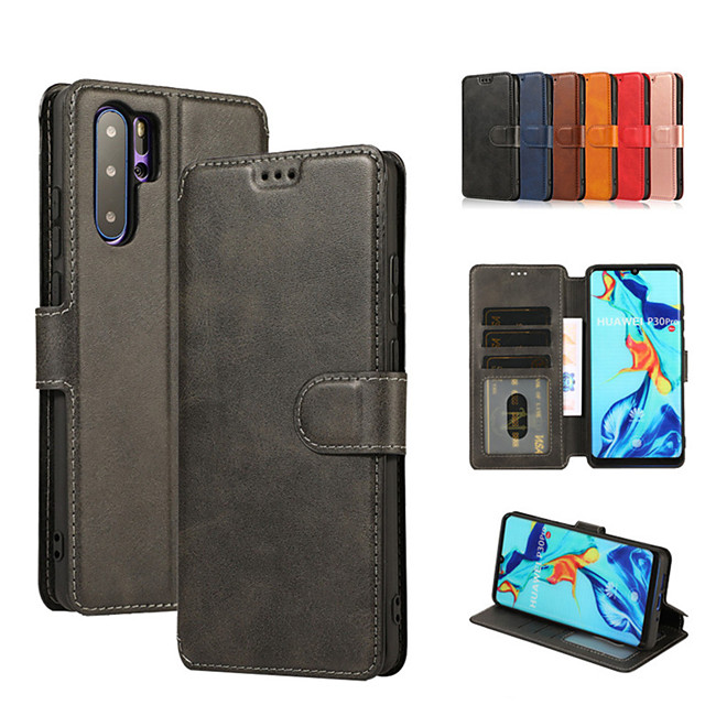 Case For HUAWEI P30pro/P30LITE/P30/P20pro/P20LITE/MATE 20 PRO/MATE 20/MATE 20 LITE   Wallet / Card Holder / Shockproof Full Body Cases Solid Colored PU Leather / TPU