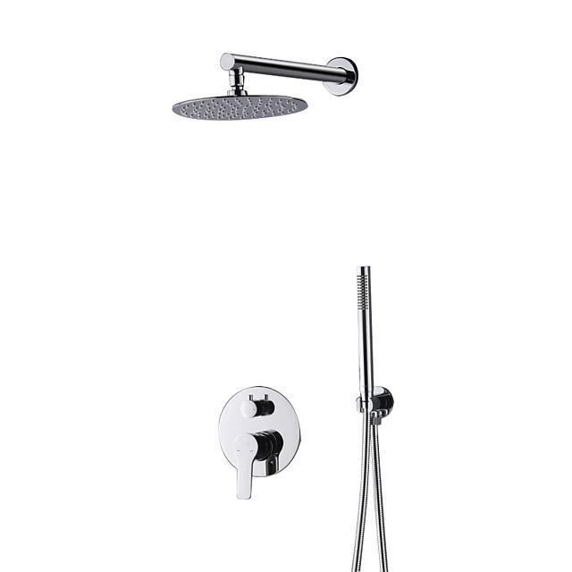 Shower Faucet Set - Rainfall Contemporary Chrome Wall Mounted Ceramic Valve Bath Shower Mixer Taps / Brass