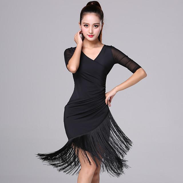 Women's Flapper Girl Latin Dance Flapper Dress Party Costume Tassel Flapper Costume Rayon / Polyester Black Red Dress