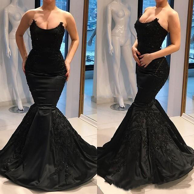 Mermaid / Trumpet Sexy Black Engagement Formal Evening Dress Strapless Sleeveless Court Train Stretch Satin with Beading Appliques 2020