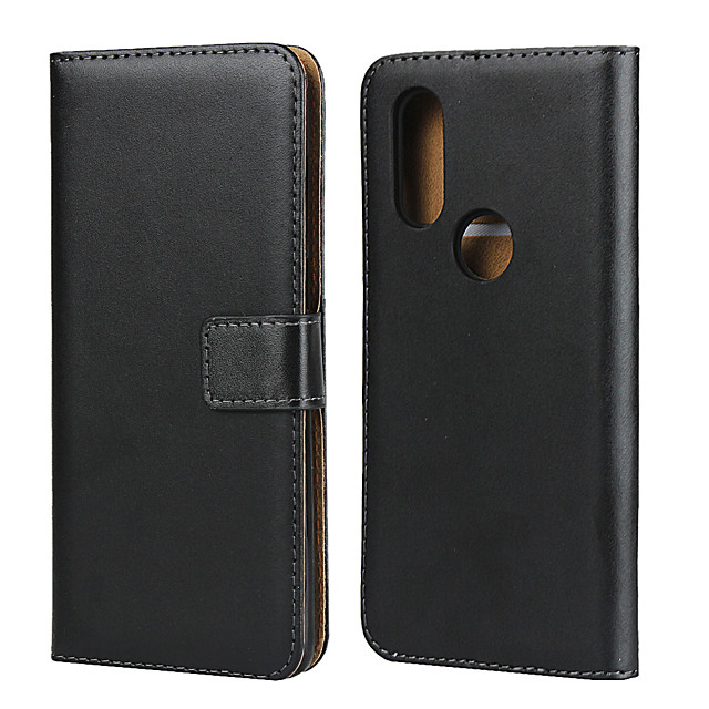 Case For Motorola MOTO One Vision / Moto G7 / Moto G7 Play Card Holder Back Cover Solid Colored Genuine Leather