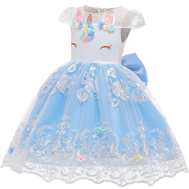 Unicorn Dress Flower Girl Dress Girls' Movie Cosplay A-Line Slip Cosplay Pink / White / Light Blue Dress Halloween Carnival Masquerade Tulle Polyester