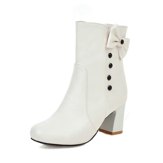 Women's Boots Chunky Heel Round Toe Casual British Daily Outdoor PU Booties / Ankle Boots White / Black / Pink