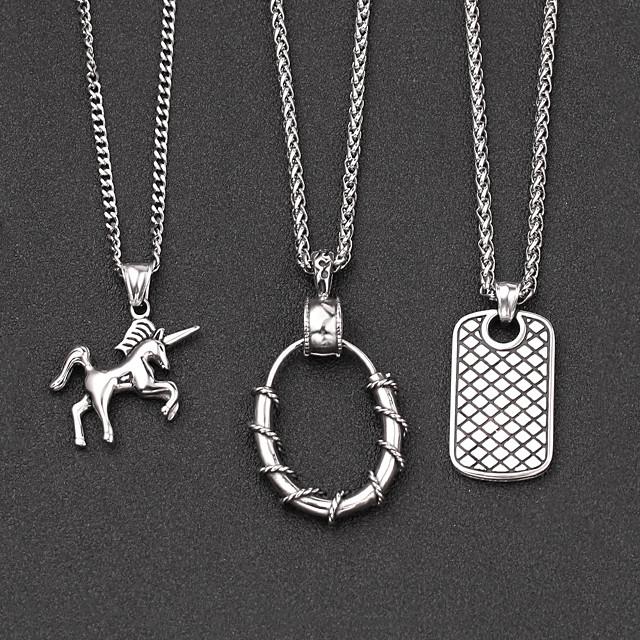 Men's Pendant Necklace Classic Mini Simple Chrome Silver Silver 2 Silver 3 60 cm Necklace Jewelry 1pc For Daily