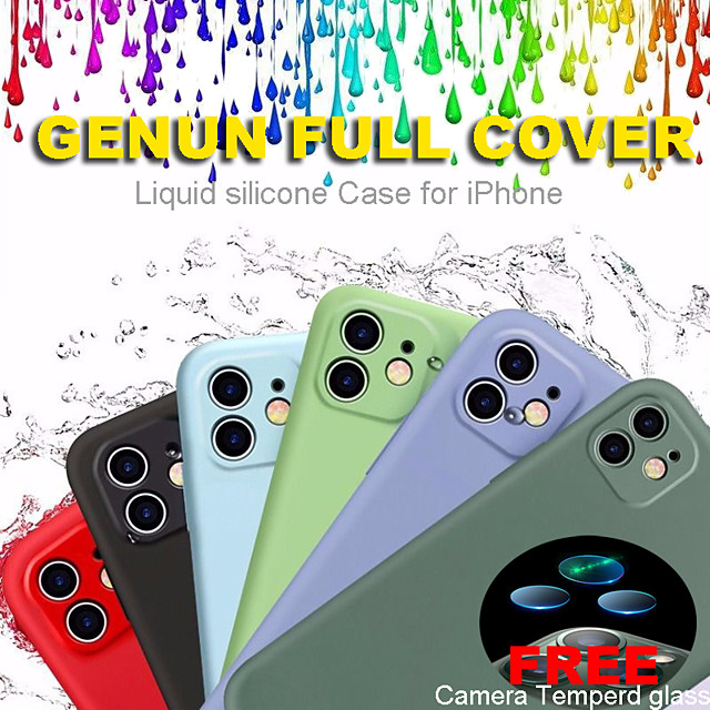Full Cover Liquid Silicone Phone Case For Apple iPhone 11 case 11 Pro Max Case Soft Skin X XS XR 7 8 Plus  Odorless and Non-toxic With Free Camera Tempered Glass