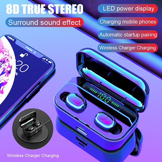 G6s Pro TWS 8D Stereo Wireless Charging Earbuds Handsfree Sports Bass Headphones  LED Power Display Bluetooth 5.0 IPX7 Waterproof Headset with 3500mAh Power Bank for Mobile Phones