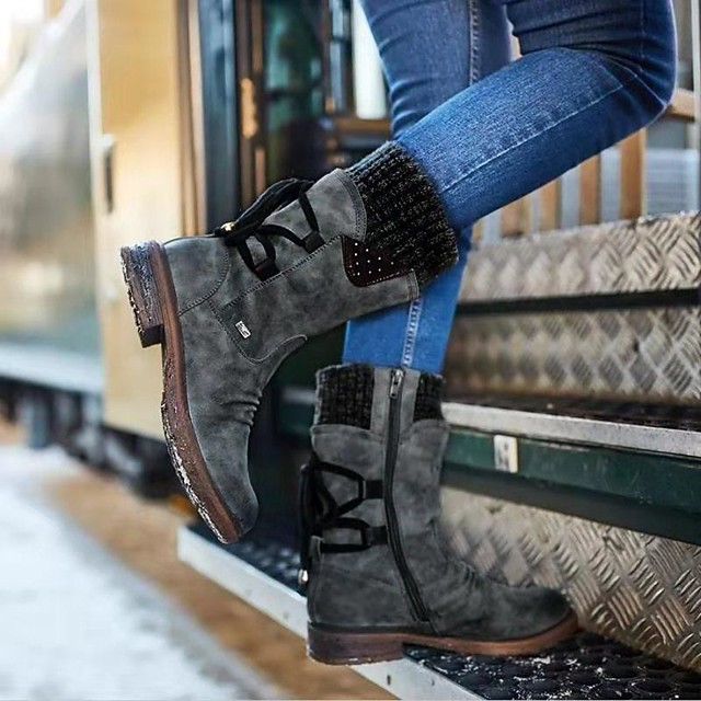 Winter Round Head Women/'s Long Boots Comfot Female New Fashion Solid Color LR