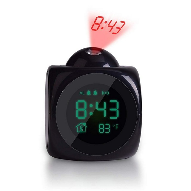 Projection Alarm Clock Voice Alarm Clock with Digital LCD Screen with Home Electronic Thermometer Time Wall Ceiling Projection, Cute Design for Living Room and Bedroom