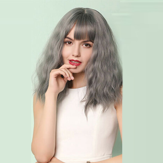 Extension Natural Wave Neat Bang Wig Medium Length Grey Synthetic Hair 17 inch Women's Party Synthetic Designers Dark Gray