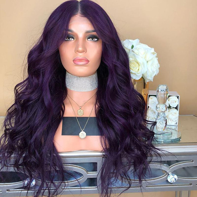 Synthetic Lace Front Wig Body Wave Bouncy Curl Middle Part Lace Front Wig Long Dark Purple Synthetic Hair 18-24 inch Women's Cosplay Heat Resistant Synthetic Purple / Glueless