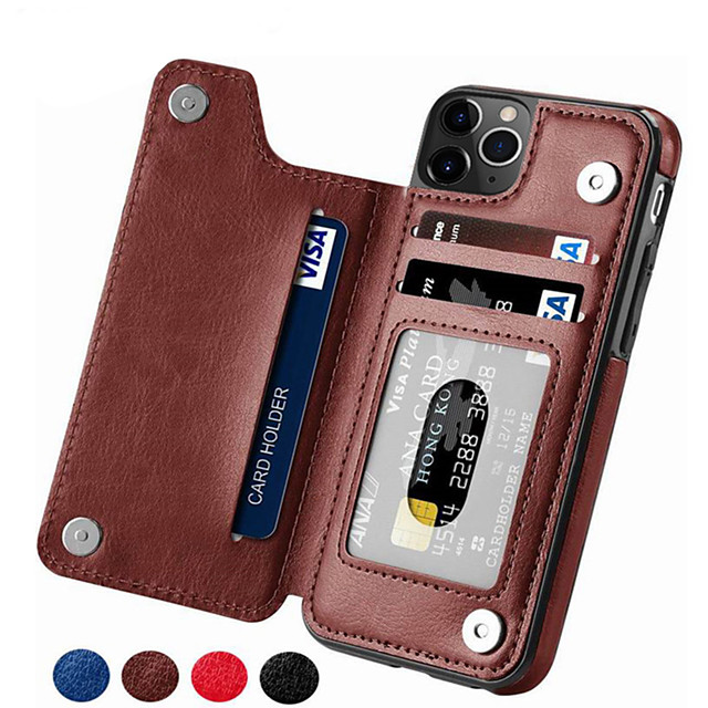 Case For Apple iPhone 11 / iPhone 11 Pro / iPhone 11 Pro Max Card Holder Back Cover Solid Colored PU Leather