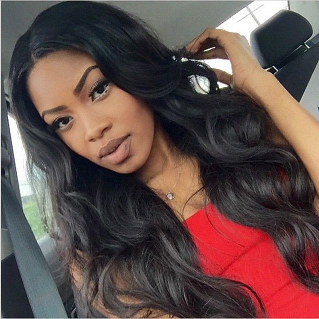 Synthetic Wig Body Wave Asymmetrical Wig Long Natural Black Synthetic Hair 27 inch Women's Best Quality Middle Part Black