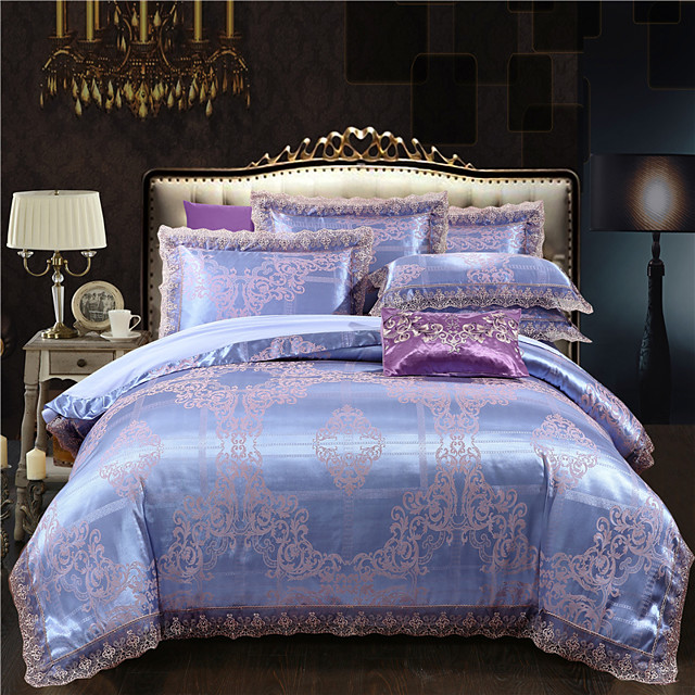 Cotton Tencel Modal Large Jacquard 4 Piece Pure Cotton Satin Wedding Lace Bed Sheet Bedding Set