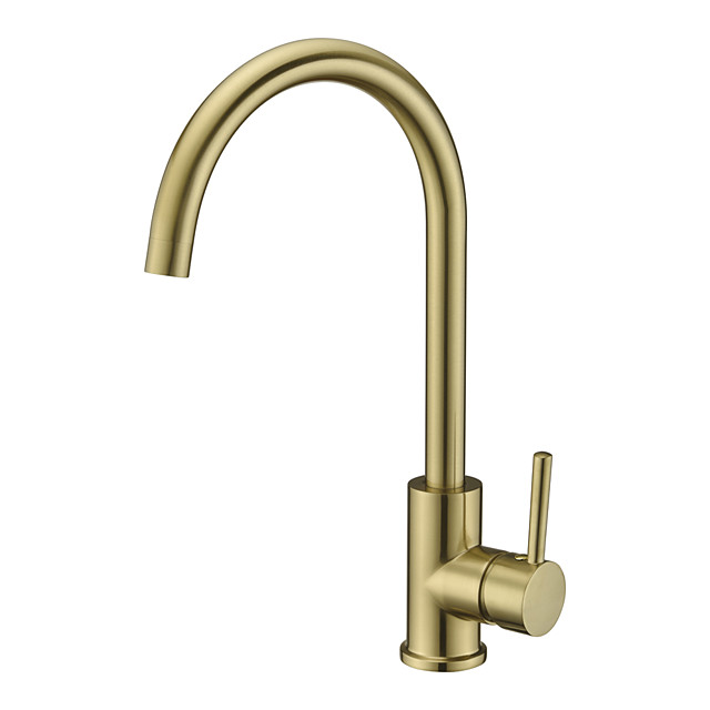 Single Handle Kitchen Faucet,Golden One Hole Rotatable Electroplated Centerset Contemporary Zinc Alloy Handle Kitchen Taps with Hot and Cold Water