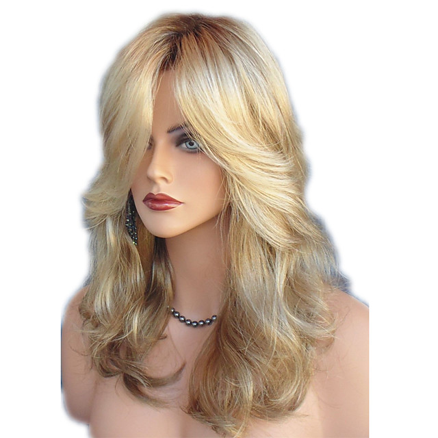 Synthetic Wig Straight Wavy Kardashian Middle Part Side Part Wig Blonde Medium Length Blonde Synthetic Hair 22inch Women's Adjustable Heat Resistant Classic Blonde / Ombre Hair / Natural Hairline