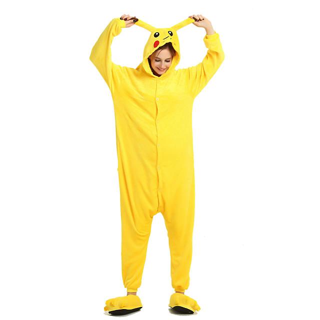 Adults' Kigurumi Pajamas Pika Pika Animal Onesie Pajamas Coral fleece Yellow Cosplay For Men and Women Animal Sleepwear Cartoon Festival / Holiday Costumes
