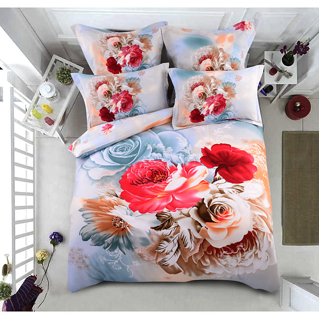 Duvet Cover Sets 6 Piece Polyester / Polyamide Floral / Botanical Cream Printed Contemporary / 4pcs (1 Duvet Cover, 1 Flat Sheet, 2 Shams)