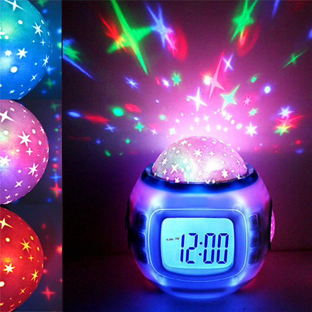 Music Led Star Sky Projection Digital Alarm Clock Calendar Thermometer Kids New Backlight function Alarms