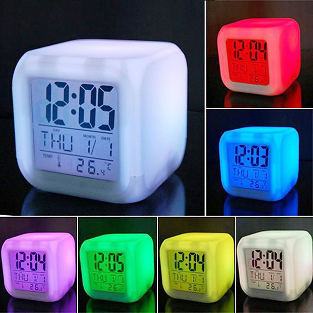 LED Alarm Colock 7 Colors Changing Digital Desk Gadget Digital Alarm Thermometer Night Glowing Cube led Clock Home