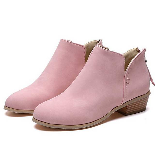 Women's Boots Low Heel Pointed Toe PU Booties / Ankle Boots Winter Black / Pink / Beige
