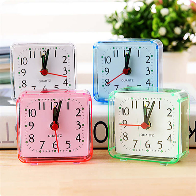 Square Small Bed Compact Travel Quartz Beep Clock Fashion rabbit bedside lamp green batteries music kit alarm