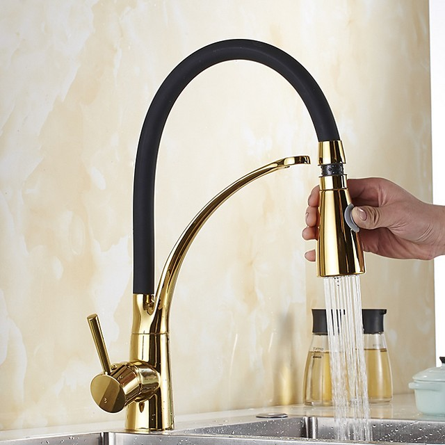 Fancy Kitchen faucet - Single Handle One Hole Electroplated Pull-out / ­Pull-down / Tall / ­High Arc Centerset Contemporary Kitchen Taps